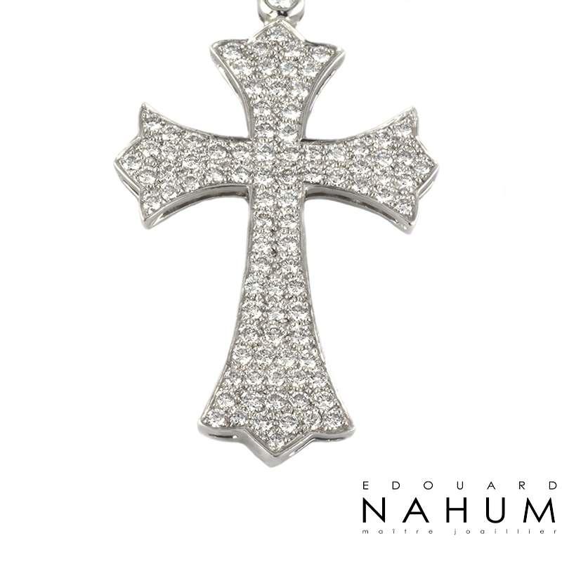 Edouard Nahum Diamond Angel & Cross Necklace 14.66ct